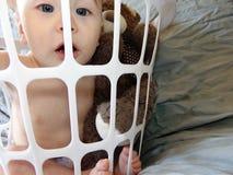 Baby Boy In White Basket stock image