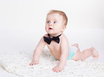 Baby boy sitting with bow tie Royalty Free Stock Photos