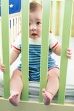 Baby boy is sitting in crib. And looking through a safety fence stock photo