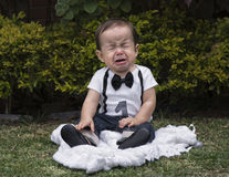Baby boy sitting in a garden crying Royalty Free Stock Images