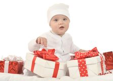 Baby boy sitting  with gift Stock Photos