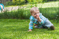 Baby boy sitting on the grass Stock Photography