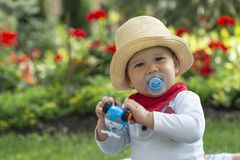 Baby boy sitting on the grass in the garden on beautiful spring day royalty free stock images