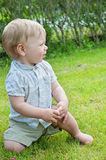 Baby boy sitting on green grass Royalty Free Stock Photo