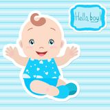 Baby boy sitting, holding out hands, smiling. A frame with an inscription. Card, invitation, baby shower Stock Photo