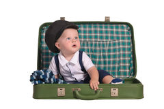 Baby Boy Sitting In Green Suitcase Royalty Free Stock Photography