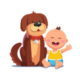 Baby boy sitting together with big brown dog. Little baby boy sitting together with big brown dog. Domestic pet in collar looking after happy toddler kid Royalty Free Stock Image