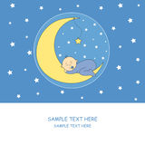 Baby boy sleeping. Baby sleeping on the moon.Baby boy arrival announcement card royalty free illustration