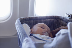Baby Boy Sleeping In Bassinet On Airplane Royalty Free Stock Photography
