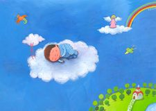 Baby boy sleeping in clouds in his blue pajamas. Angel and two birds watching Stock Photography