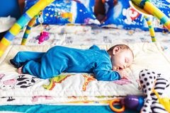 Baby boy sleeping on his belly Royalty Free Stock Photo