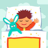 Baby boy sleeping with his rabbit toy royalty free illustration