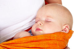 Baby Boy Sleeping In Mother Arms Royalty Free Stock Images