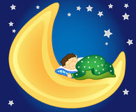 Baby boy sleeping on the moon. Fun and peaceful: little girl sleeping on the moon in the sky amongst the stars, perfect for a kids room Stock Image