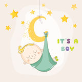 Baby Boy Sleeping on a Moon - Baby Shower Card Stock Images