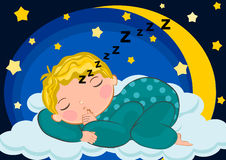Baby boy sleeping in the moon Stock Images