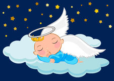 Baby boy sleeping in the moon. Illustrations concept stock illustration