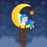Baby boy sleeping on the moon among the stars Royalty Free Stock Photos