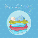 Baby Boy Sleeping on Pillows Card Royalty Free Stock Image