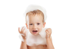 Baby boy with soap foam or shampoo Royalty Free Stock Images