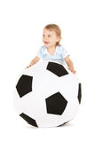 Baby boy with soccer ball Royalty Free Stock Photography