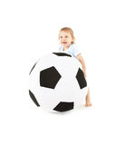 Baby boy with soccer ball Royalty Free Stock Image