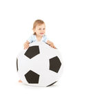 Baby boy with soccer ball Stock Photography