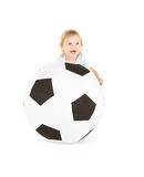 Baby boy with soccer ball Royalty Free Stock Photos