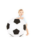 Baby boy with soccer ball Stock Photos