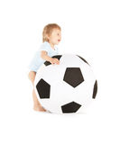 Baby boy with soccer ball Royalty Free Stock Photo
