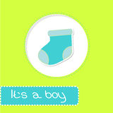 Baby boy sock. Shower card Royalty Free Stock Images