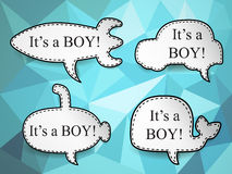 Baby boy speech bubbles. Stock Photos