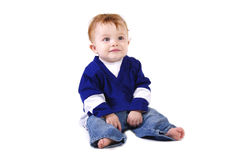 Baby boy in sports jersey Stock Image