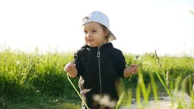 Baby boy standing with dandelion in a green field in summer stock video footage