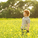 Baby boy standing in the field. Ginger baby boy standing in the field of yellow flowers and sreaming (shouting). outdoor shot Stock Images