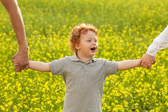 Baby boy standing in the field Stock Photography