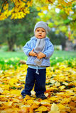 Baby boy stands among leaves in autumn park Royalty Free Stock Photo