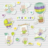 Baby Boy Stickers for Baby Shower Party Celebration. Decorative Elements for Newborn Celebration. Vector illustration Royalty Free Stock Photo
