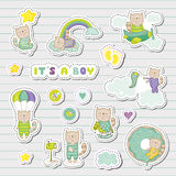 Baby Boy Stickers, Patches for Baby Shower Party Celebration. Decorative Elements for Newborn Celebration. Vector illustration Stock Photos