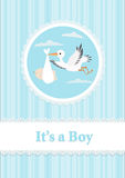 Baby Boy and stork. Vector illustration Royalty Free Stock Image