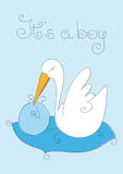 Baby Boy and stork. In a blue background, its a boy Stock Photos