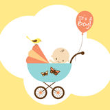 Baby Boy in Stroller. Illustration of a happy baby boy in stroller Royalty Free Stock Images