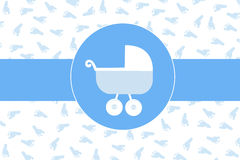 Baby boy stroller with baby foot print background vector illustration