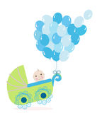 Baby boy stroller with balloon. Baby shower greeting card Royalty Free Stock Images
