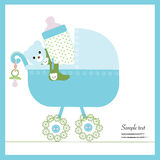 Baby boy stroller with bottle, soother, socks vector Royalty Free Stock Photos