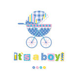 Baby boy stroller greeting card Stock Photography
