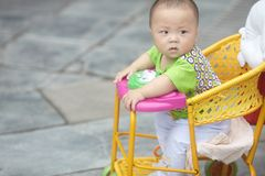 Baby  boy in stroller Stock Photos