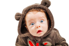 Baby boy studio portrait. Cute 2 months old baby boy isolated on white Stock Photography
