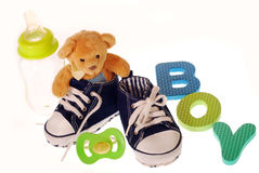 Baby boy stuffs Stock Photography