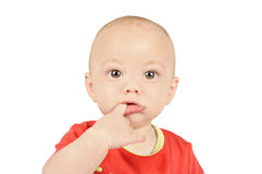 Baby boy sucking on his finger Royalty Free Stock Images